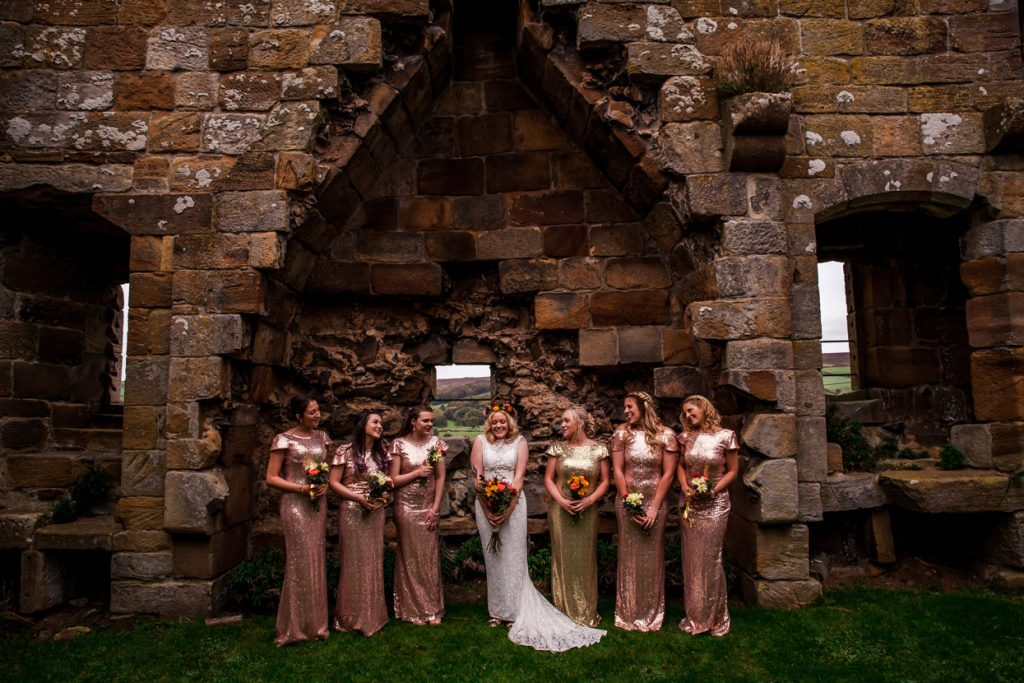 danby castle wedding bride and her bridesmaids