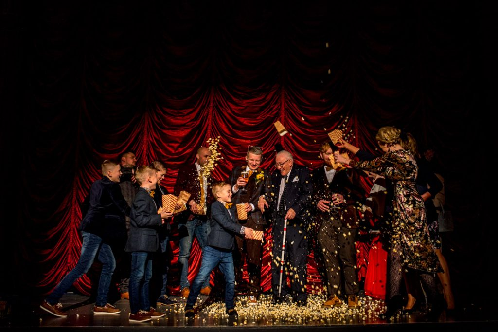 popcorn fight between guests at tyneside cinema wedding