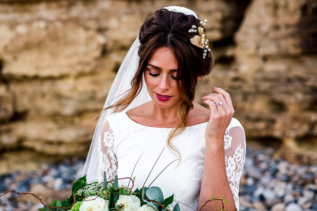 Seaham Hall Wedding bride on the beach